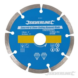 Concrete & Stone Cutting Diamond Blade - 125 x 22.23mm Segmented Rim