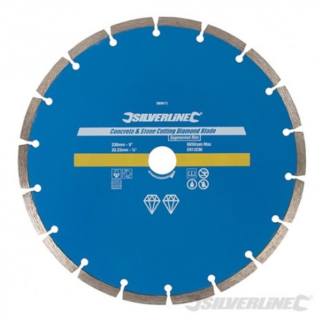 Concrete & Stone Cutting Diamond Blade - 230 x 22.23mm Segmented Rim
