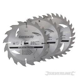 Karbidové řezné kotouče pro okružní pilu - 16, 24, 30 zubů, 3 kusy - 135 x 12.7 - 10mm ring