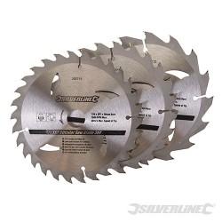 Karbidové řezné kotouče pro okružní pilu - 16, 24, 30 zubů, 3 kusy - 150 x 20 - 16, 12.75mm rings