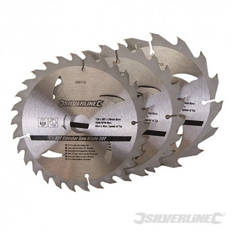 TCT Circular Saw Blades 16, 24, 30T 3pk - 150 x 20 - 16, 12.75mm Rings