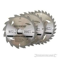 Karbidové řezné kotouče pro okružní pilu - 16, 24, 30 zubů, 3 kusy - 160 x 30 - 20, 16, 10mm rings