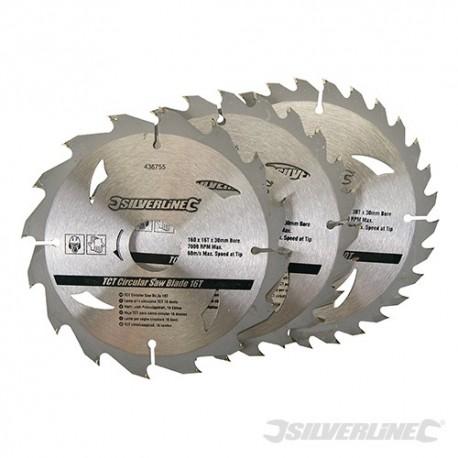 TCT Circular Saw Blades 16, 24, 30T 3pk - 160 x 30 - 20, 16, 10mm Rings
