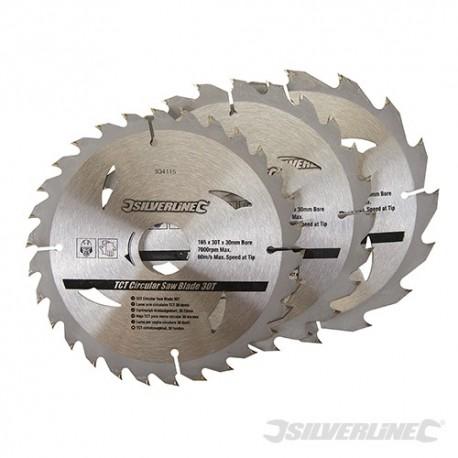 TCT Circular Saw Blades 16, 24, 30T 3pk - 165 x 30 - 20, 16, 10mm rings
