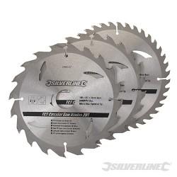 Karbidové řezné kotouče pro okružní pilu - 20, 24, 40 zubů, 3 kusy - 180 x 30 - 20, 16mm rings
