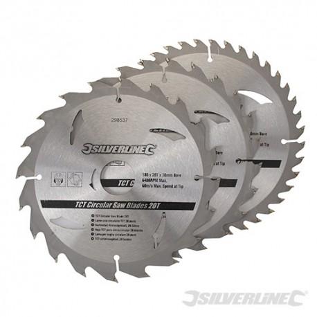 TCT Circular Saw Blades 20, 24, 40T 3pk - 180 x 30 - 20, 16mm Rings