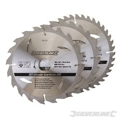 TCT Circular Saw Blades 20, 24, 40T 3pk - 190 x 30 - 25, 20mm Rings