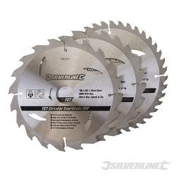Karbidové řezné kotouče pro okružní pilu - 20, 24, 40 zubů, 3 kusy - 190 x 30 - 25, 20mm rings