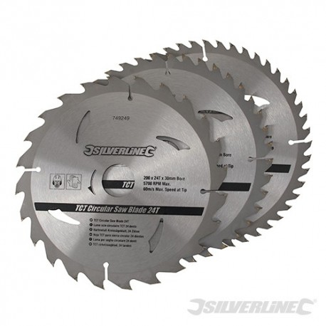 TCT Circular Saw Blades 24, 40, 48T 3pk - 200 x 30 - 25, 18, 16mm rings