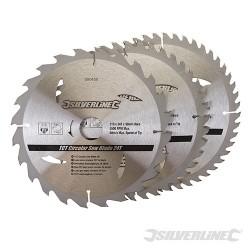 Karbidové řezné kotouče pro okružní pilu - 20, 24, 48 zubů, 3 kusy - 210 x 30 - 25, 16mm Rings