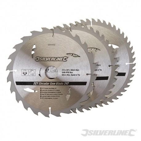 TCT Circular Saw Blades 24, 40, 48T 3pk - 210 x 30 - 25, 16mm Rings