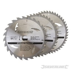 Karbidové řezné kotouče pro okružní pilu - 20, 24, 48 zubů, 3 kusy - 230 x 30 - 25, 20, 16mm rings