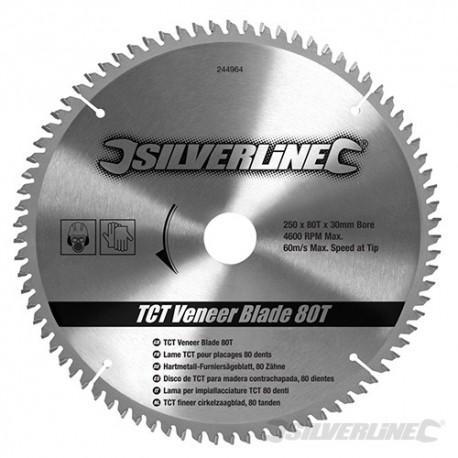 Silverline Karbidové řezné kotouče pro okružní pilu - na dýhu, 80 zubů - 250 x 30 - 25, 20, 16mm Rings 244964 5055058110473