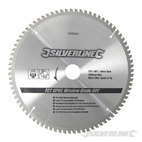 Silverline Karbidové řezné kotouče pro okružní pilu - na PVC, 80 zubů - 250 x 30 - 25, 20, 16mm Rings 598444 5055058121110