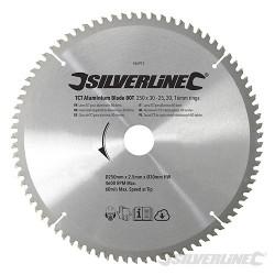TCT Aluminium Blade 80T - 250 x 30 - 25, 20, 16mm rings