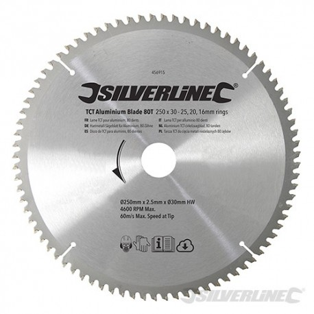Silverline Karbidové řezné kotouče pro okružní pilu - na hliník, 80 zubů - 250 x 30 - 25, 20, 16mm rings 456915 5055058110480