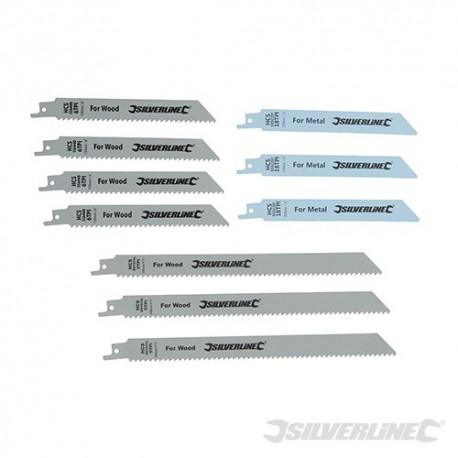 Recip Saw Blades for Wood & Metal 10pce - Bi-Metal & HCS - 240 & 150mm