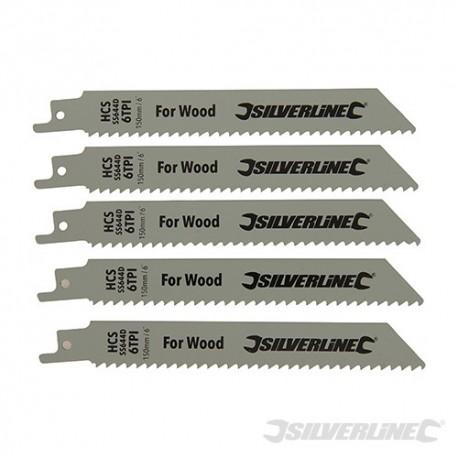 Recip Saw Blades for Wood 5pk - HCS - 6tpi - 150mm