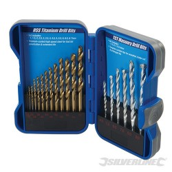 Titanium-Coated HSS & Masonry Drill Bit Set 19pce - 19pce