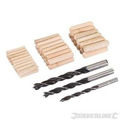 Zestaw wiertel i kolków polaczeniowych, 47 szt. - 6, 8 oraz 10 mm