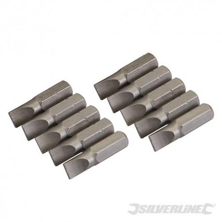 Silverline Plochý šroubovací bit, chrom-vanadiový 10 ks - Slotted 6mm SB201 5024763013232