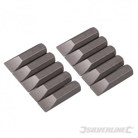 Silverline Plochý šroubovací bit, chrom-vanadiový 10 ks - Slotted 7mm SB202 5024763013249