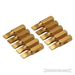 Plochý šroubovací bit, zlatý - 10 kusů - Slotted 5mm