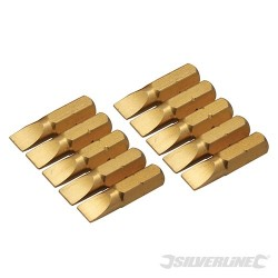 Slotted Gold Screwdriver Bits 10pk - Slotted 6mm