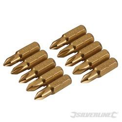 Křížový šroubovací bit, zlatý - 10 kusů - PH1