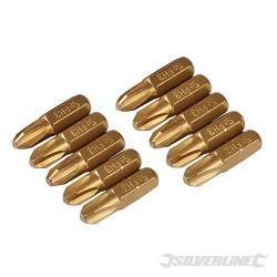 Křížový šroubovací bit, zlatý - 10 kusů - PH3