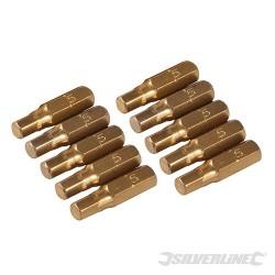Zestaw tytanowych bitów szesciokatnych, 10 szt. - Szesciokatne 5 mm