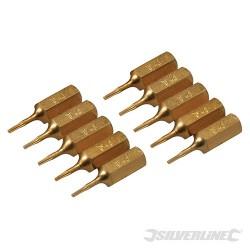 Hvězdicový šroubovací bit, zlatý - 10 kusů - T4