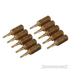 Hvězdicový šroubovací bit, zlatý - 10 kusů - T7