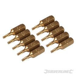 Hvězdicový šroubovací bit, zlatý - 10 kusů - T9