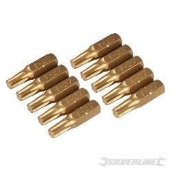 Hvězdicový šroubovací bit, zlatý - 10 kusů - T27