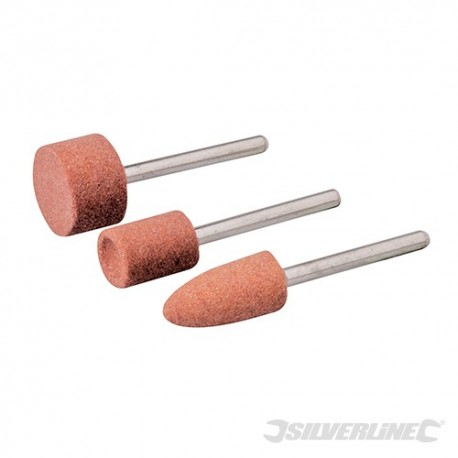 Rotary Tool Grinding Stone Set 3pce - 9.5, 9.5 & 15.8mm Dia