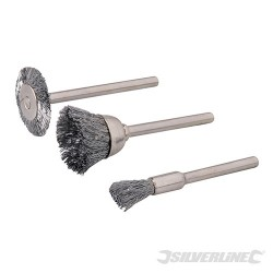 Rotary Tool Steel Wire Brush Set 3pce - 5, 15, 20mm Dia