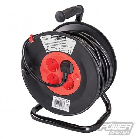 European Type F Schuko Cable Reel 230V - 16A 25m 4 CEE 7/4 Sockets