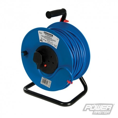 Cable Reel 240V Freestanding - 13A 50m 2 Socket