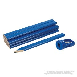 Carpenters Pencils & Sharpener Set 13pce - 175mm