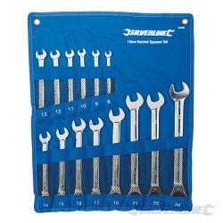 Fixed Head Ratchet Spanner Set 14pce - 8 - 24mm