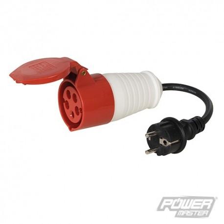 16A Schuko Plug to 16A CEE 400V Socket Fly Lead Converter - 400V 5 Pin