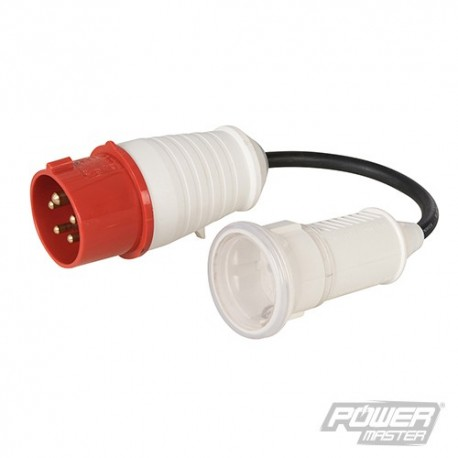 16A CEE 400V Plug to 16A Schuko Socket Fly Lead Co - 400V 5 Pin