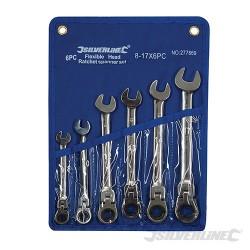 Zestaw kluczy plasko-oczkowych z przegubem i grzechotka, 6 szt. - 8 - 17 mm