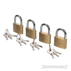 Brass Padlock Keyed Alike 4pk - 40mm
