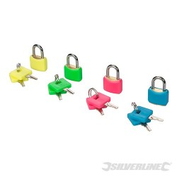Hi-Vis Brass Padlocks Set 4pce - 20mm