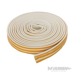 Self-Adhesive E-Profile Weather Strip - 3 - 5mm / 15m White