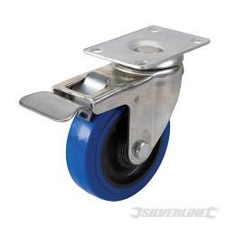 Blue Elastic Rubber Castor - 100mm 140kg Blue