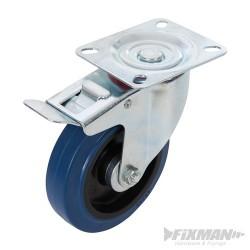 Rubber Castor Swivel with Brake - 125mm 180kg Blue