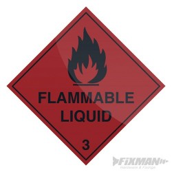 Flammable Liquid Sign - 100 x 100mm Self-Adhesive